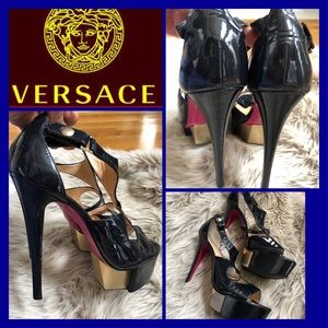 Versace navy strapped t-strap platforms
